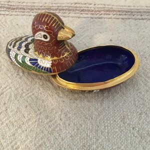 Little Cloisonné Colorful Duck Tiny Dish with Lid